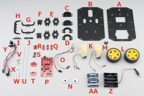 Všechny komponenty robota RedBot