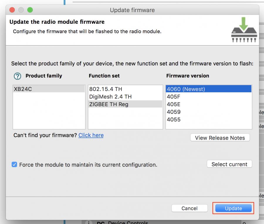 Výběr firmware pro upgrade XBee