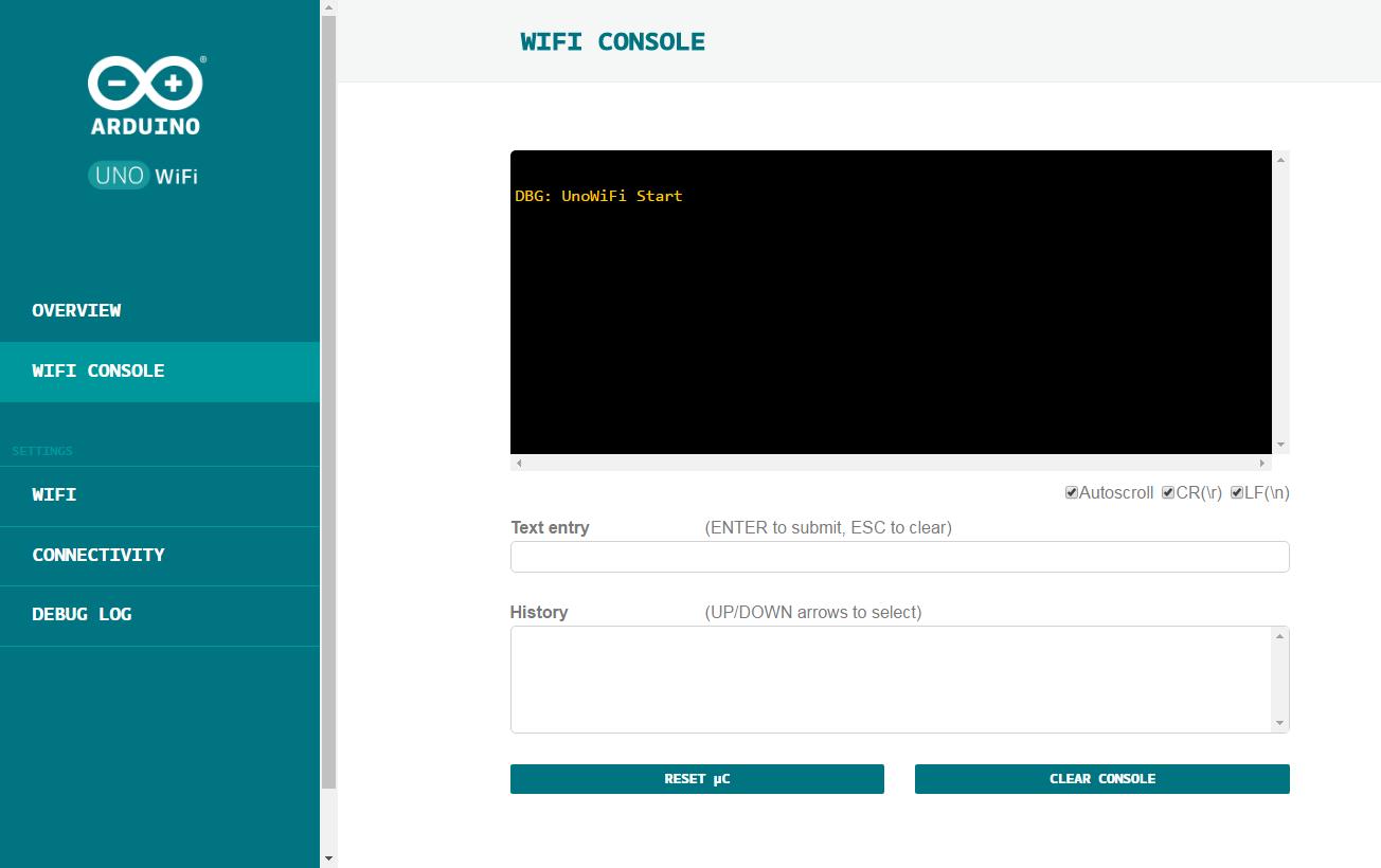 Arduino UNO WiFi Webpanel