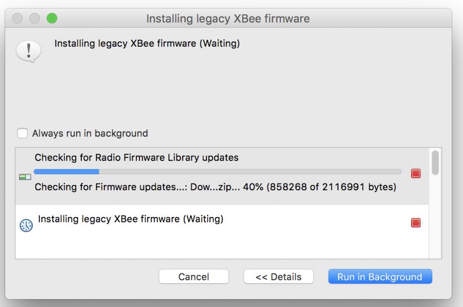 Stahování firmware XBee