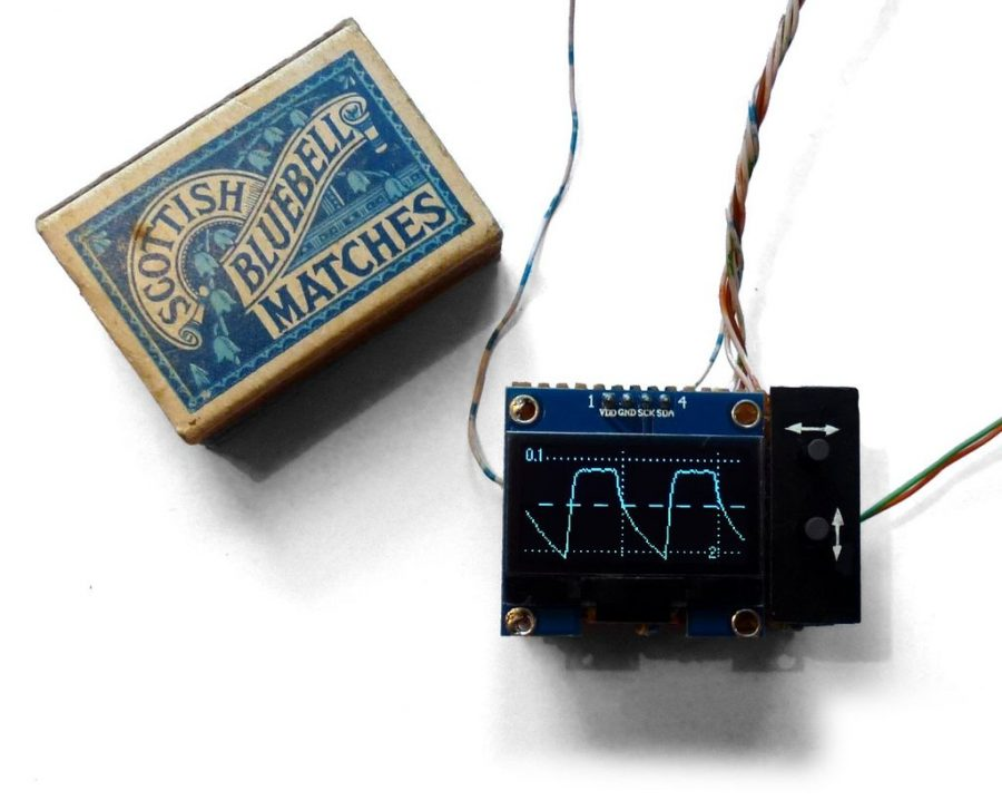 Arduino osciloskop velikosti krabičky od sirek