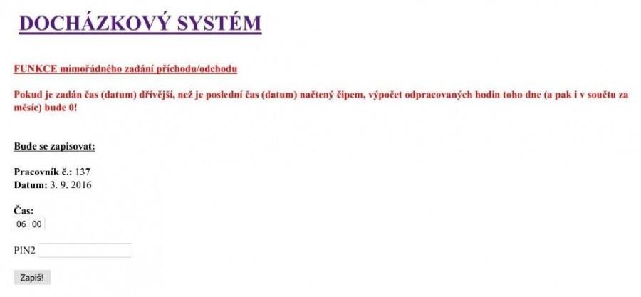 Arduino docházkový systém - Webové rozhraní