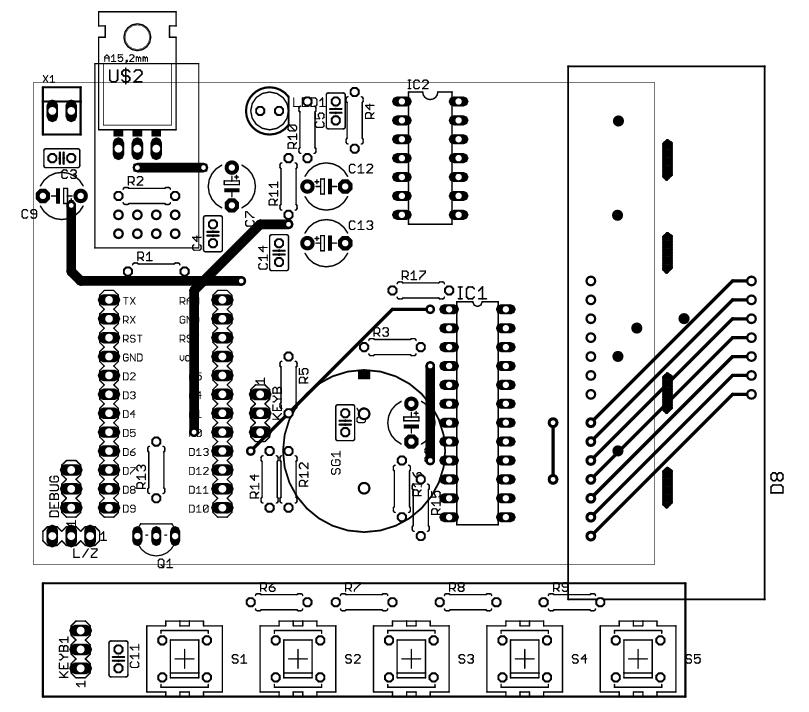 Návrh plošného spoje hodin s ESP8266 2