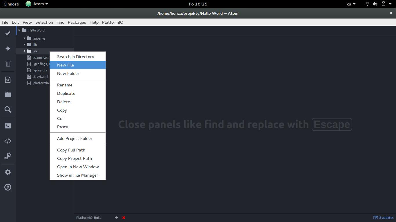 Vytváření nového listu v PlatformIO