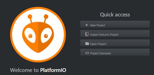 Úvodní obrazovka PlatformIO