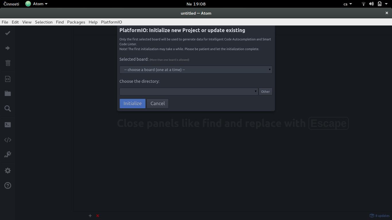 Vytvoření nového projektu v PlatformIO