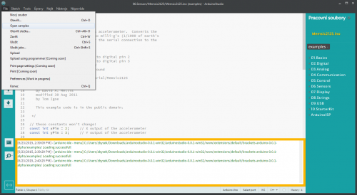 Arduino Studio - Open Samples