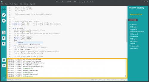 Arduino Studio - Doplnění kódu