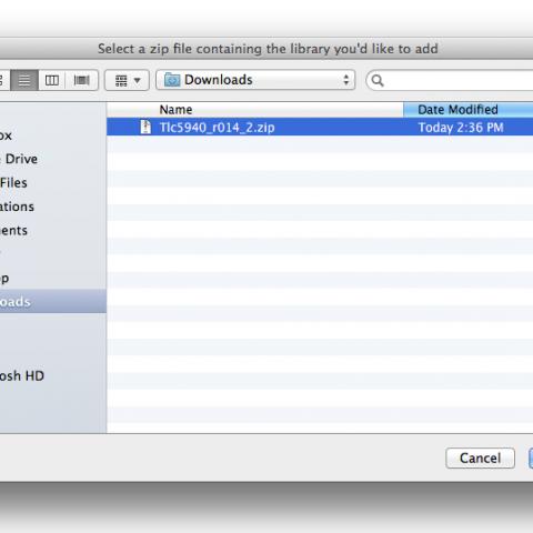 Arduino IDE výběr knihovny