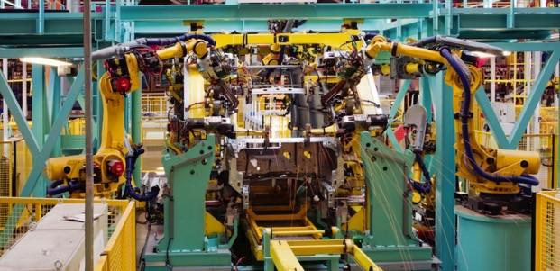 Robotický linka, který využívá M2M komunikaci (Ilustrační obrázek)