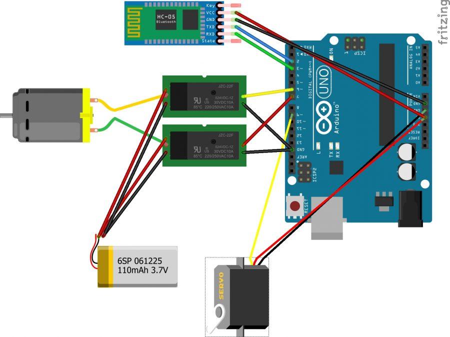 Elektrické zapojení Arduino Bluetooth auta