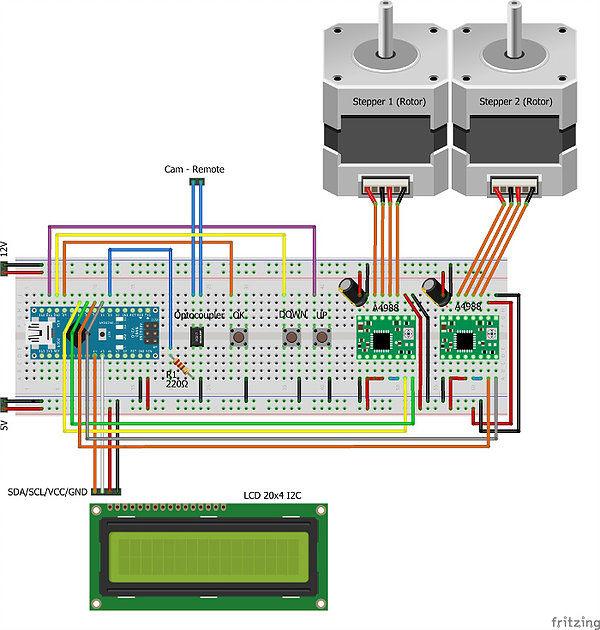 Arduino 3D scanner - nákres zapojení