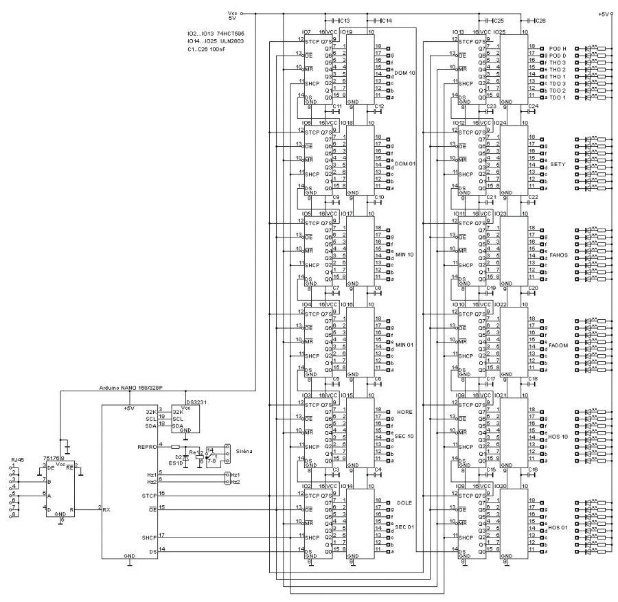 Arduino časomíra - Schéma hlavní jednotky
