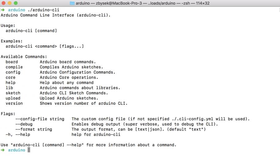 Výpis programu arduino-cli