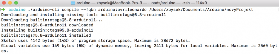 Arduino CLI Kompilace projektu
