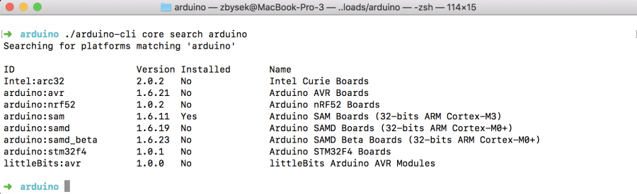 Arduino CLI Vyhledání dostupných jader