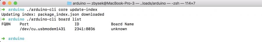 Arduino CLI Vyhledání desek