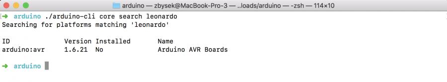 Arduino CLI Vyhledání jádra pro konkrétní desku