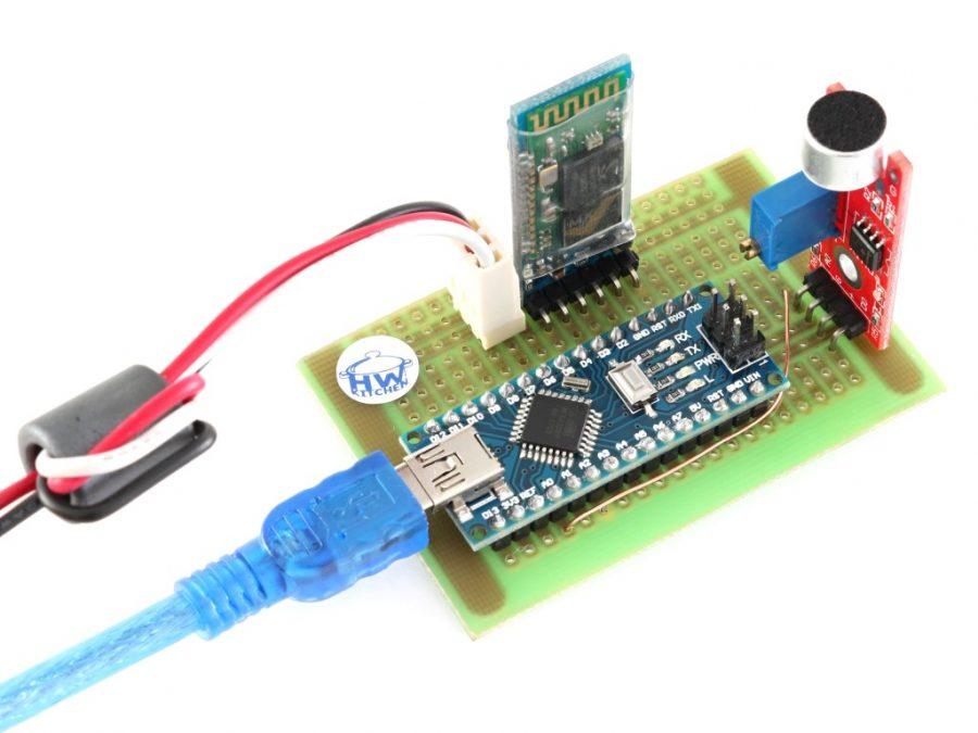 Arduino lampión - řídící PCB (Arduino NANO, Bluetooth HC-05, zvukový modul)