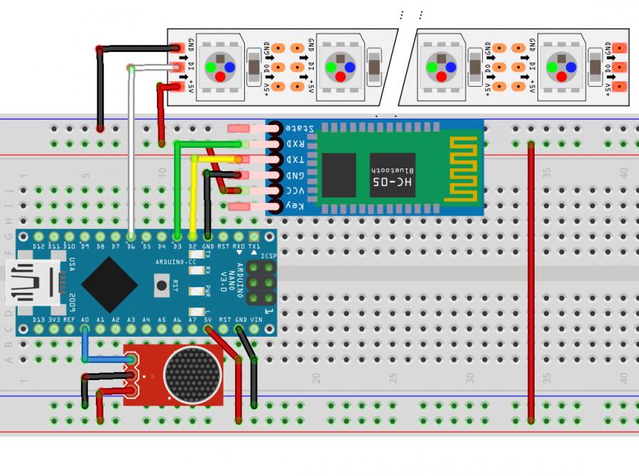 Arduino lampion - schéma propojení modulů