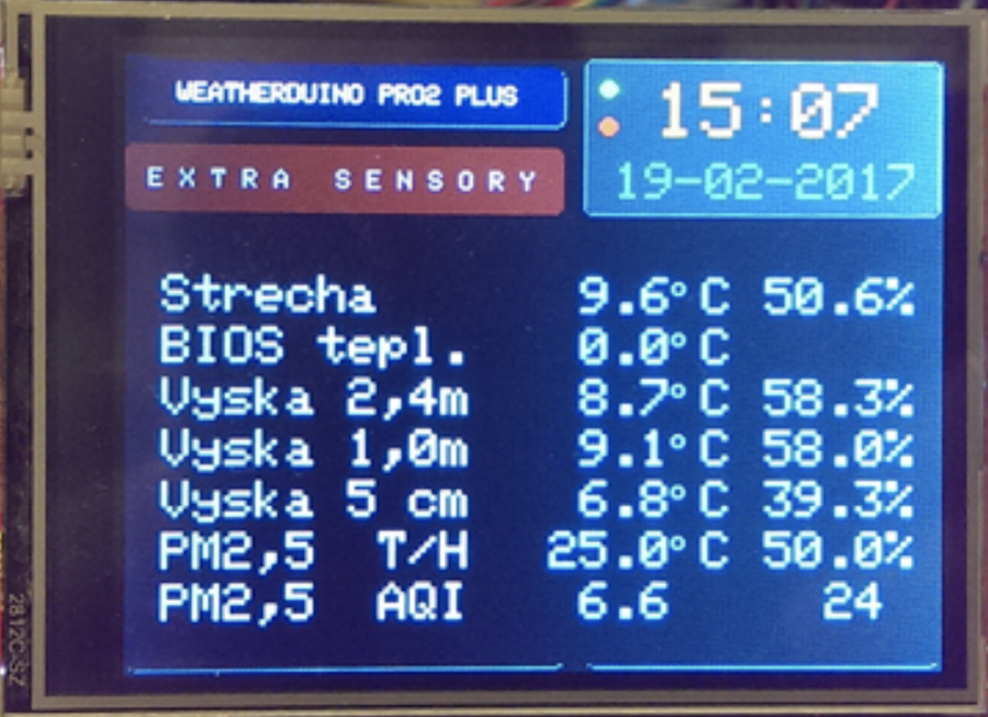 Arduino meteostanice WeatherDuino - Zobrazení dat ze senzorů