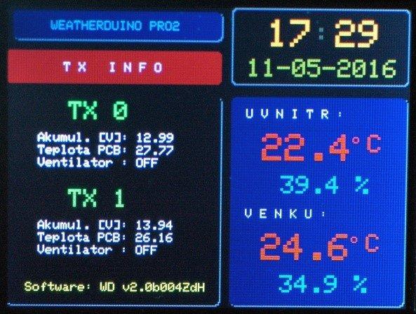 Arduino meteostanice WeatherDuino - Detail displeje
