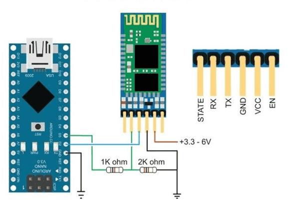 Schéma propojení Arduino NANO a Bluetooth modulu HC-05