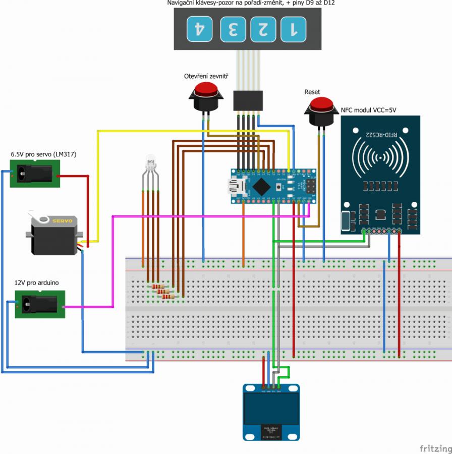 Arduino NFC vrátný - schéma projektu
