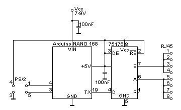 Schéma Arduino převodníku PS/2 - RS485