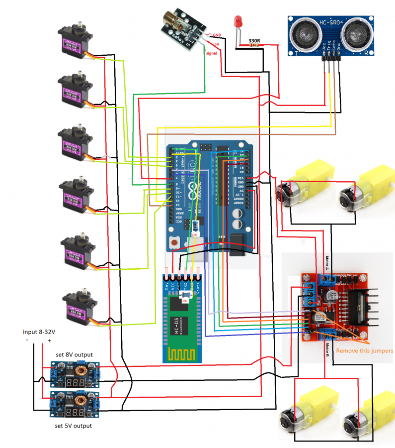 Arduino robotický tank - zapojení