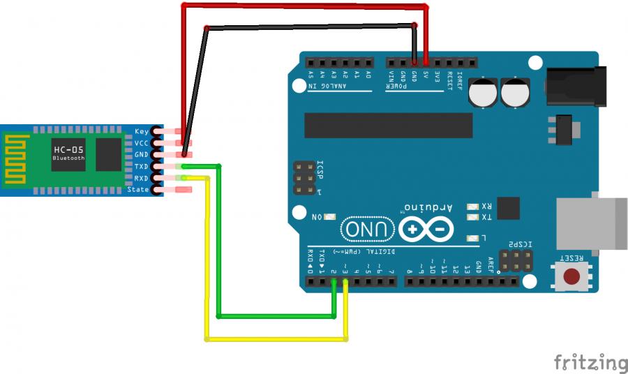 Schéma zapojení Arduina a Bluetooth modulu HC-05