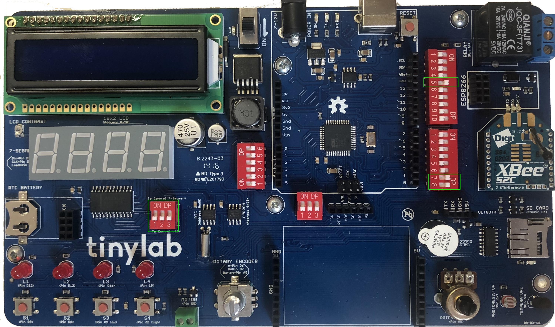 TinyLab: Nastavení přepínačů pro používání LED a XBee