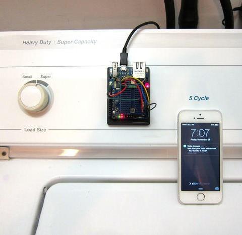 Arduino Yun - kontrola prádla v pračce