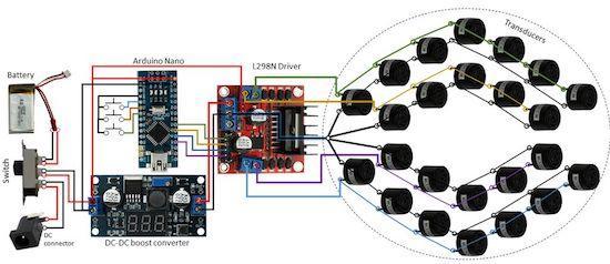 Arduino zvuková levitace - Schématický nákres systému