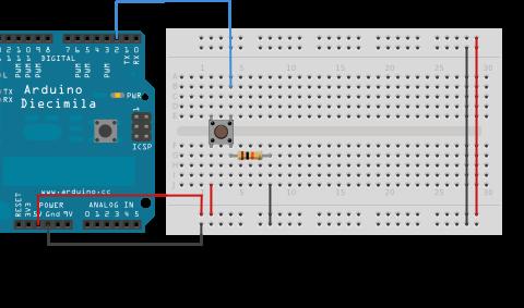 Zapojení tlačítka k Arduinu pomocí breadboardu