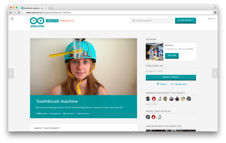 Ukázka projektu na Arduino Create