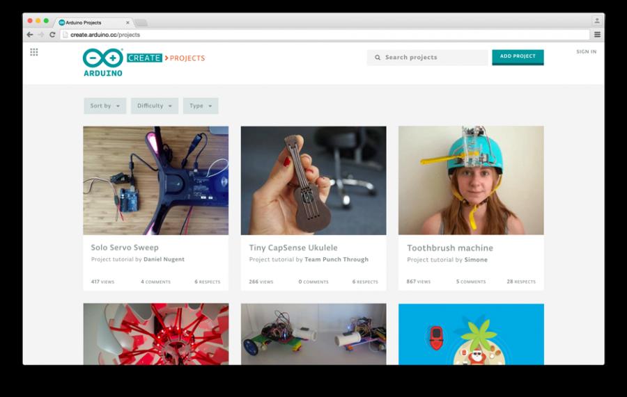 Přehled projektů na Arduino Create