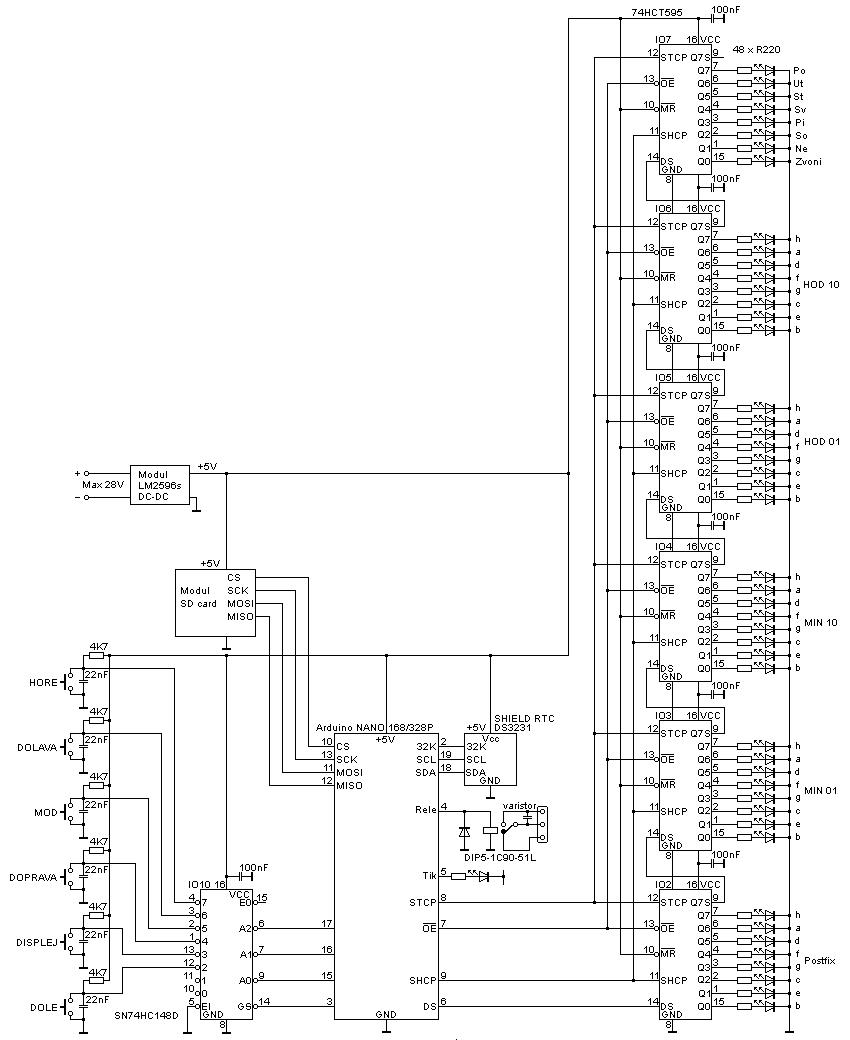 Digitální zvonek s Arduinem - schéma