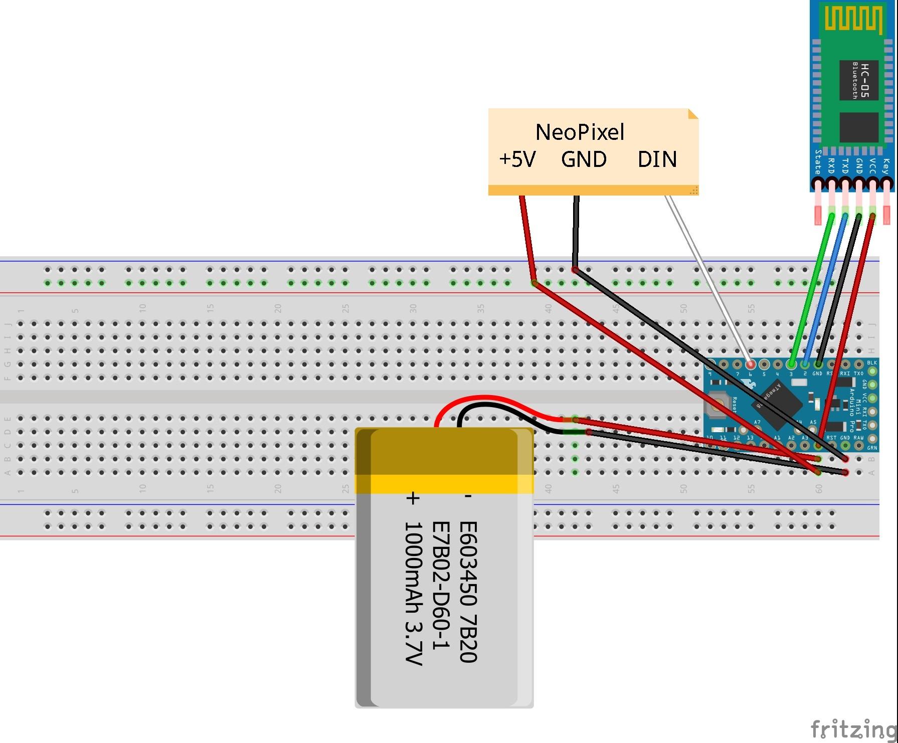 Schéma zapojení LED pásku s Arduinem