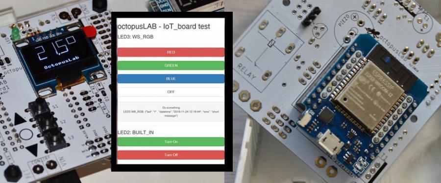 Na horní straně displej   IoT je připojeno k internetu (monitoring i ovládání z mobilu)   Ze spodní strany ESP32