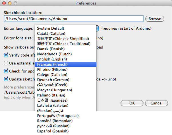 Výběr jazyka v Arduino IDE