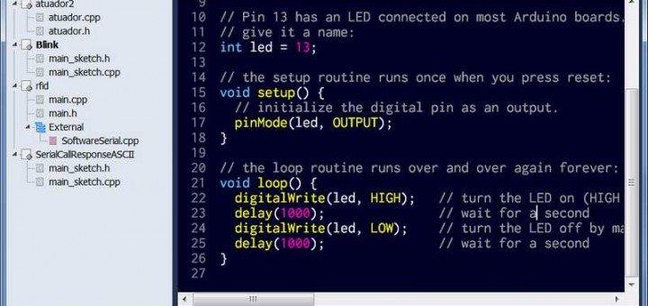 Mariamole alternativa k Arduino IDE, ukázka psaní kódu
