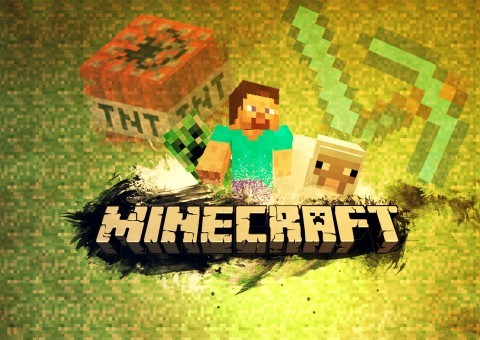 Screenshot z úvodní obrazovky hry Minecraft