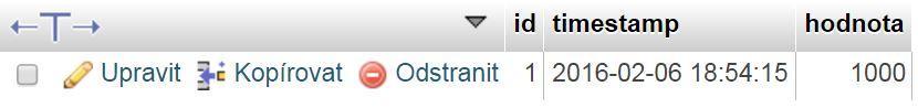 Záznam v databázi - Ovládání Arduina přes internet