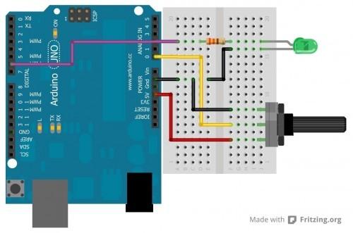 Zapojení LED a potenciometru