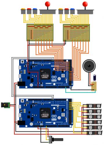 Kompetní schéma projektu Arduino hry