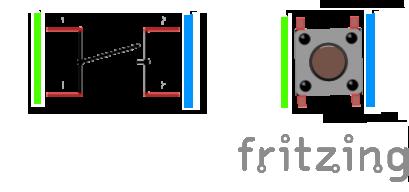 Arduino: Schématická značka a obrázek tlačítka