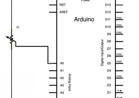 Schéma zapojení potenciometru s Arduinem
