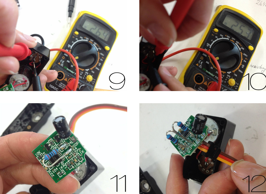 Změření potřebné velikosti odporů a jejich napájení na plošný obvod servo motoru.