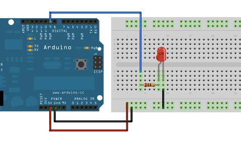 Obrázek pro postupné stmívání LED v Arduinu, zapojení na breadboardu